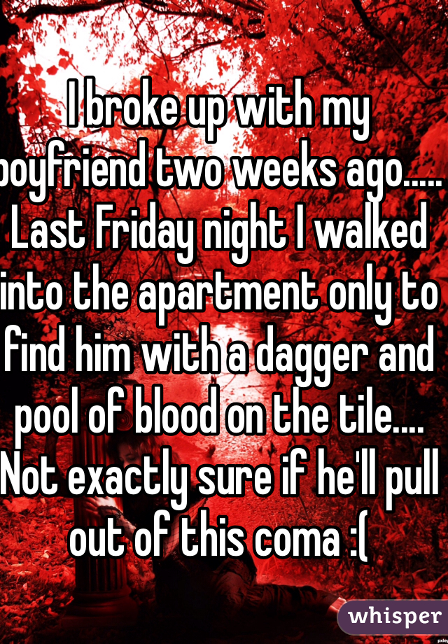 I broke up with my boyfriend two weeks ago..... Last Friday night I walked into the apartment only to find him with a dagger and pool of blood on the tile.... Not exactly sure if he'll pull out of this coma :(