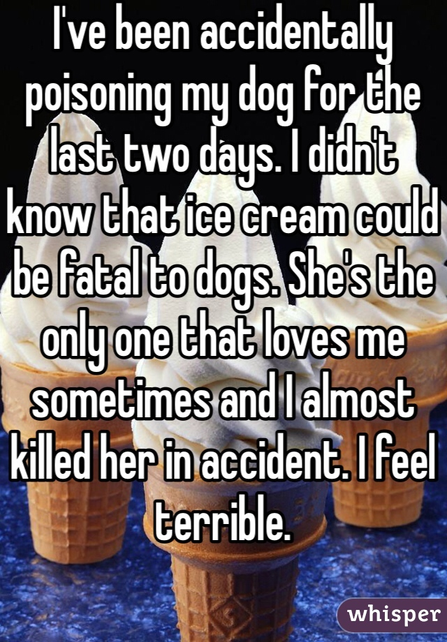 I've been accidentally poisoning my dog for the last two days. I didn't know that ice cream could be fatal to dogs. She's the only one that loves me sometimes and I almost killed her in accident. I feel terrible.