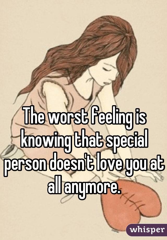 The worst feeling is knowing that special person doesn't love you at all anymore.