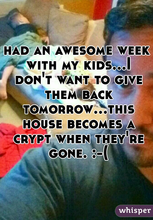 had an awesome week with my kids...I don't want to give them back tomorrow...this house becomes a crypt when they're gone. :-(