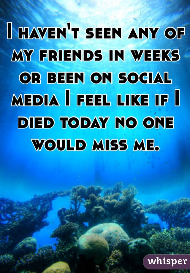 I haven't seen any of my friends in weeks or been on social media I feel like if I died today no one would miss me.