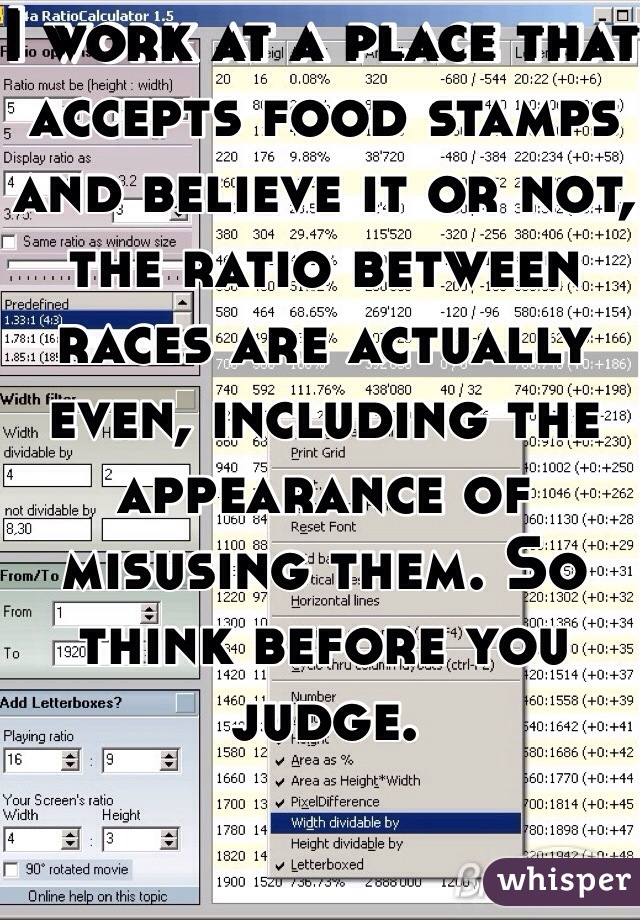 I work at a place that accepts food stamps and believe it or not, the ratio between races are actually even, including the appearance of misusing them. So think before you judge.