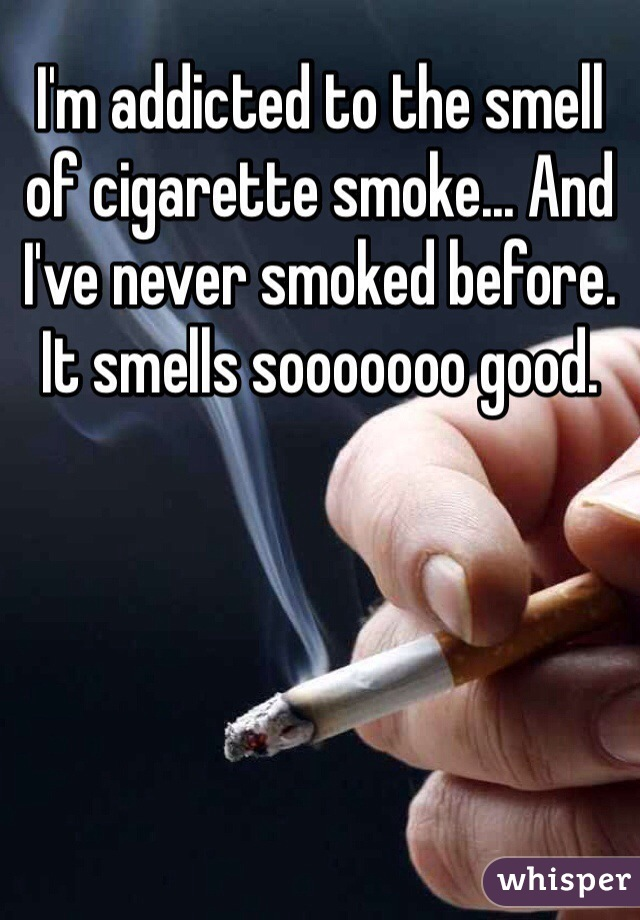 I'm addicted to the smell of cigarette smoke... And I've never smoked before. It smells sooooooo good.
