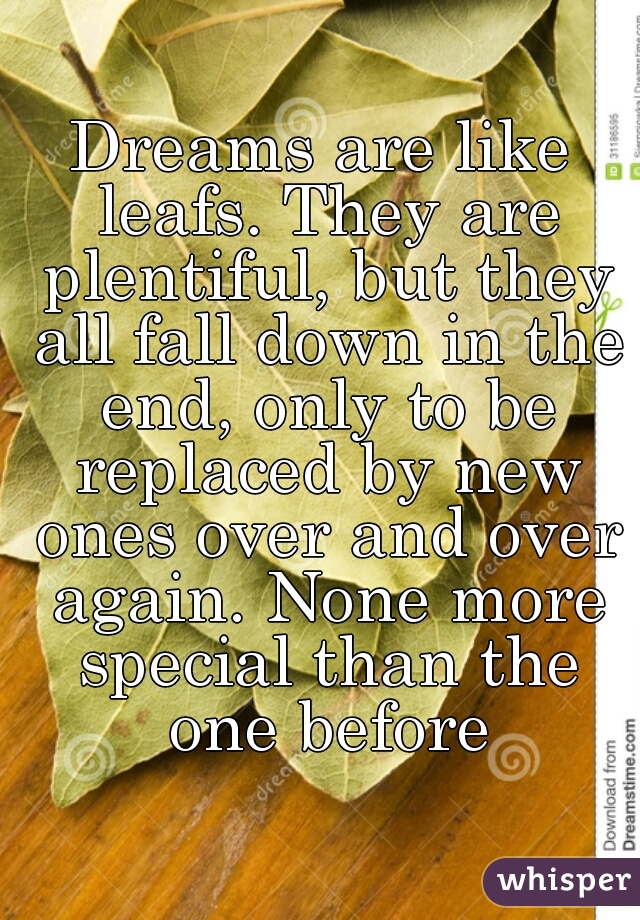 Dreams are like leafs. They are plentiful, but they all fall down in the end, only to be replaced by new ones over and over again. None more special than the one before