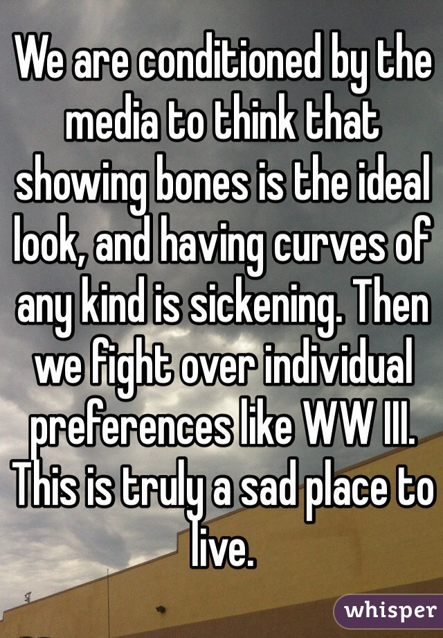 We are conditioned by the media to think that showing bones is the ideal look, and having curves of any kind is sickening. Then we fight over individual preferences like WW III. This is truly a sad place to live.