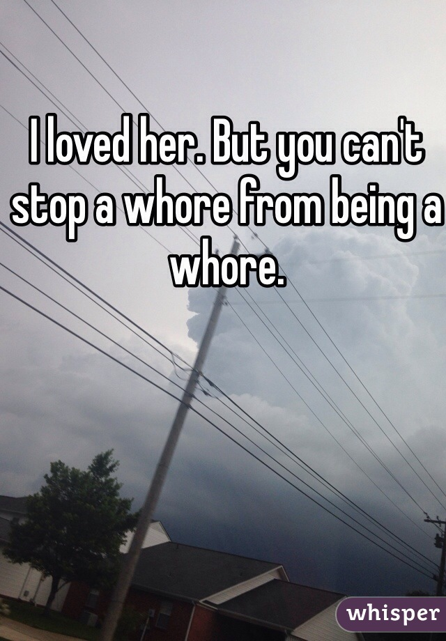 I loved her. But you can't stop a whore from being a whore.