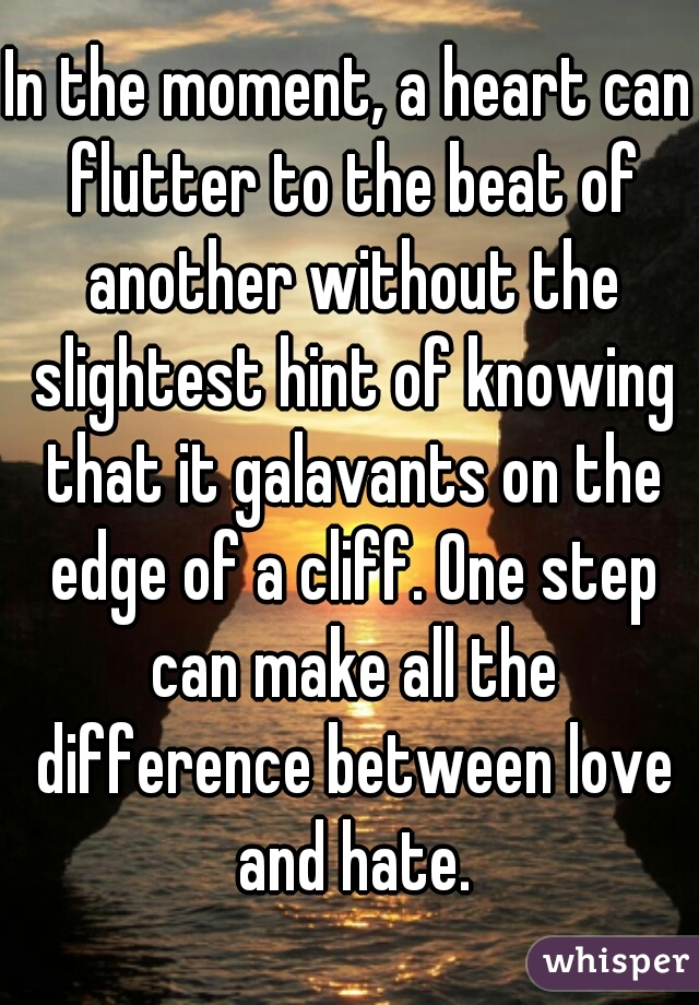 In the moment, a heart can flutter to the beat of another without the slightest hint of knowing that it galavants on the edge of a cliff. One step can make all the difference between love and hate.