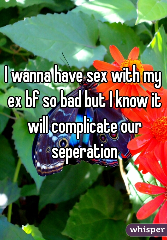 I wanna have sex with my ex bf so bad but I know it will complicate our seperation
