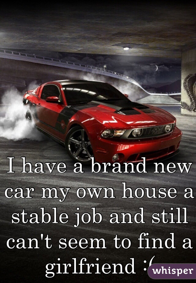 I have a brand new car my own house a stable job and still can't seem to find a girlfriend :(
