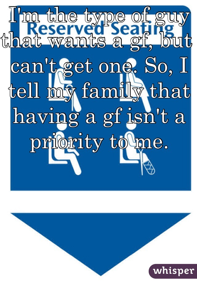 I'm the type of guy that wants a gf, but can't get one. So, I tell my family that having a gf isn't a priority to me.