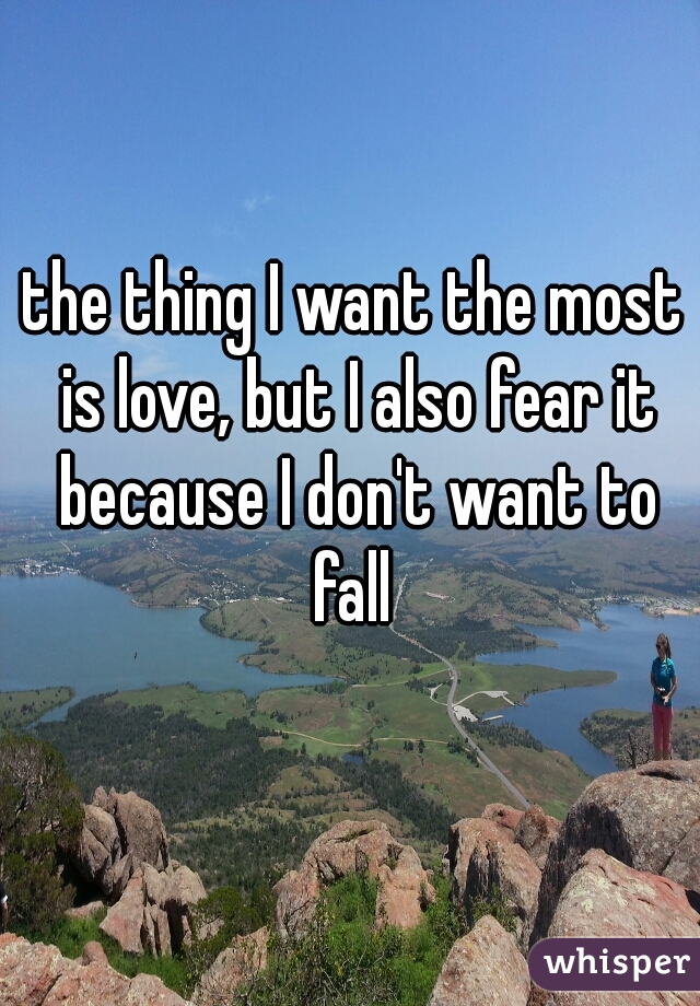 the thing I want the most is love, but I also fear it because I don't want to fall