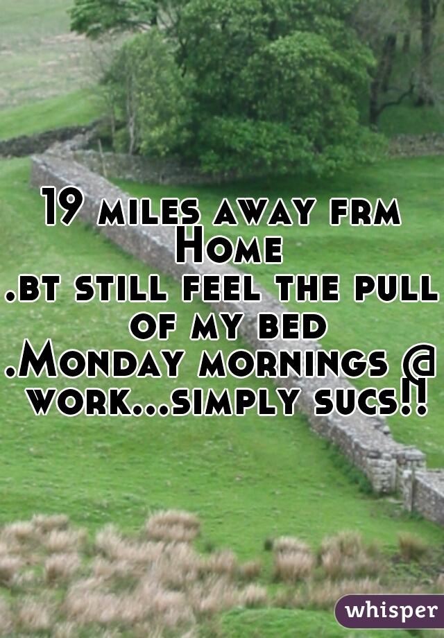 19 miles away frm Home .bt still feel the pull of my bed .Monday mornings @ work...simply sucs!!