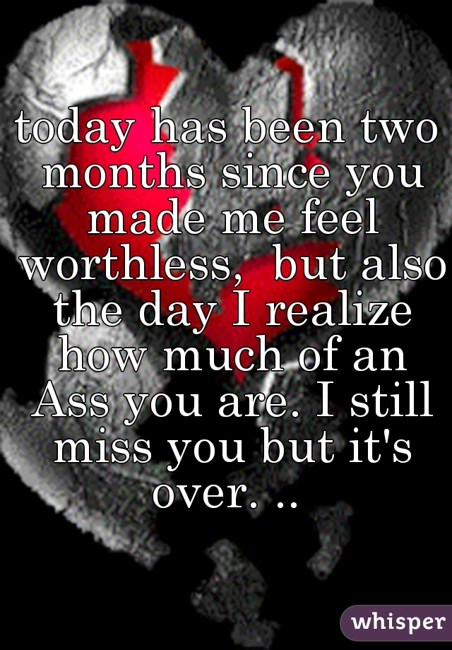 today has been two months since you made me feel worthless,  but also the day I realize how much of an Ass you are. I still miss you but it's over. ..