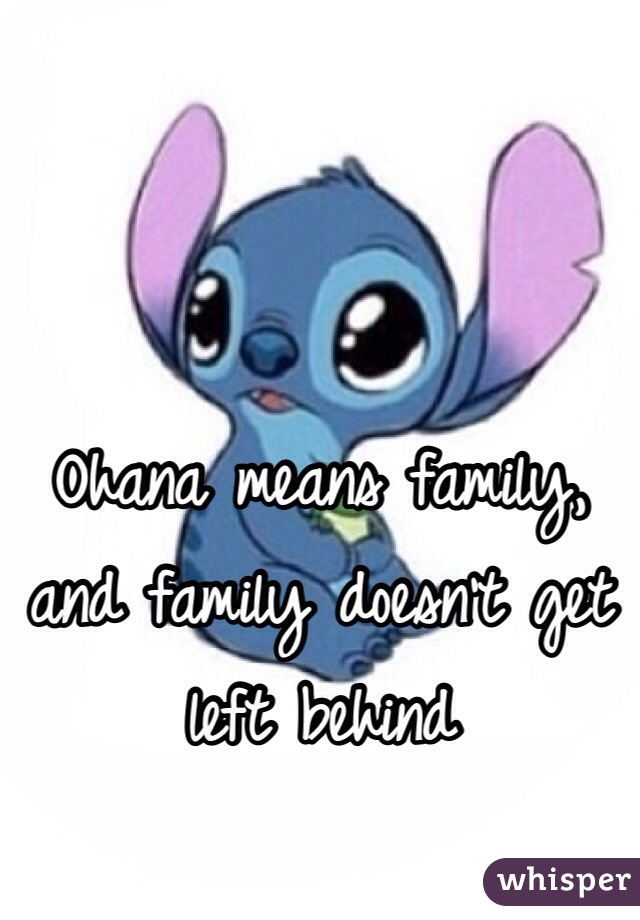 Ohana means family, and family doesn't get left behind