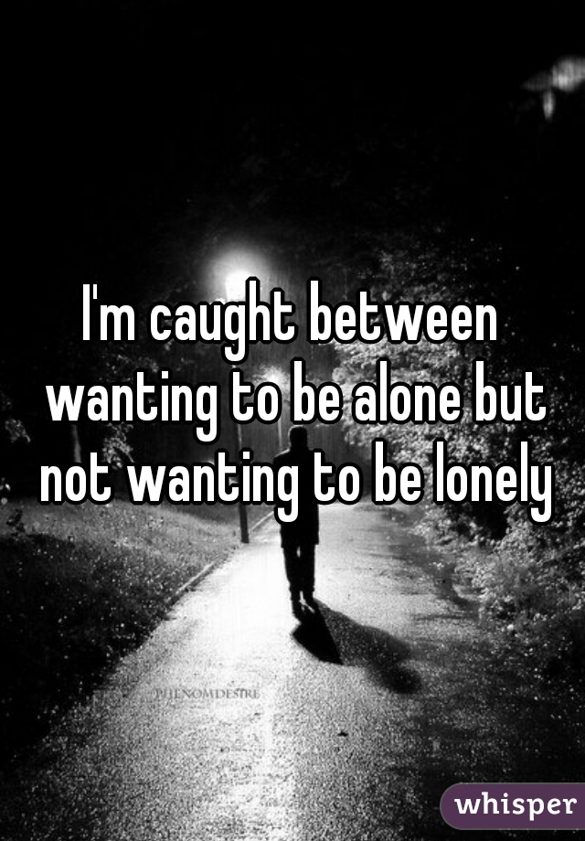 I'm caught between wanting to be alone but not wanting to be lonely