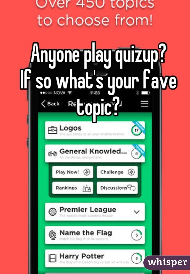 Anyone play quizup? If so what's your fave topic?