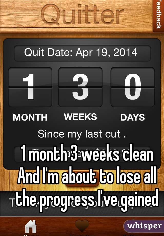 1 month 3 weeks clean  And I'm about to lose all the progress I've gained