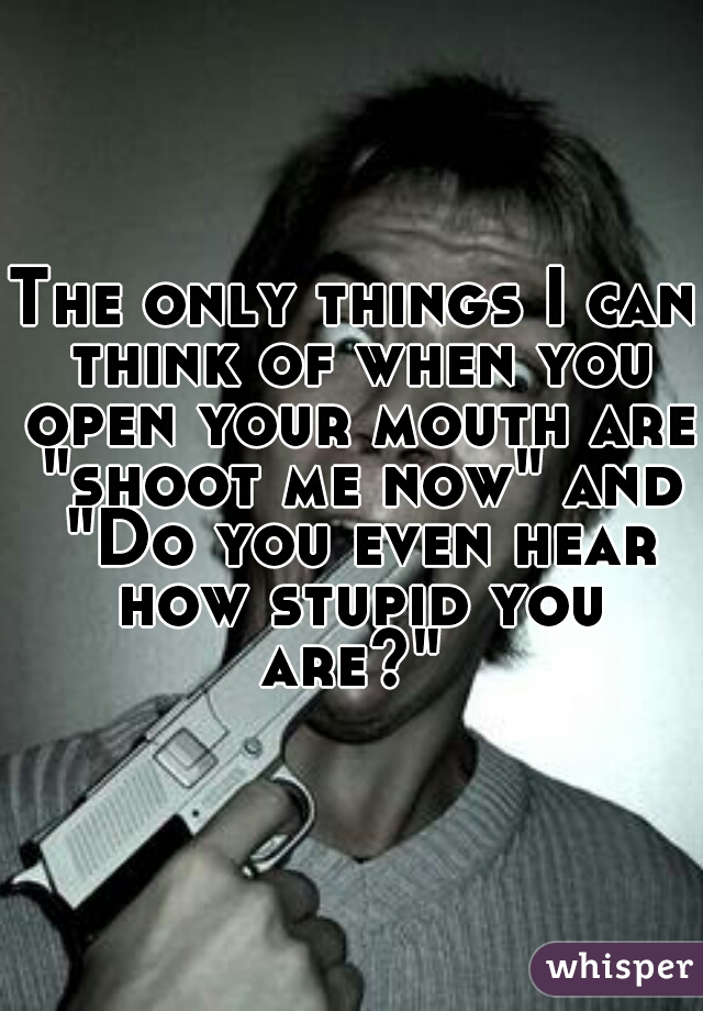 """The only things I can think of when you open your mouth are """"shoot me now"""" and """"Do you even hear how stupid you are?"""""""