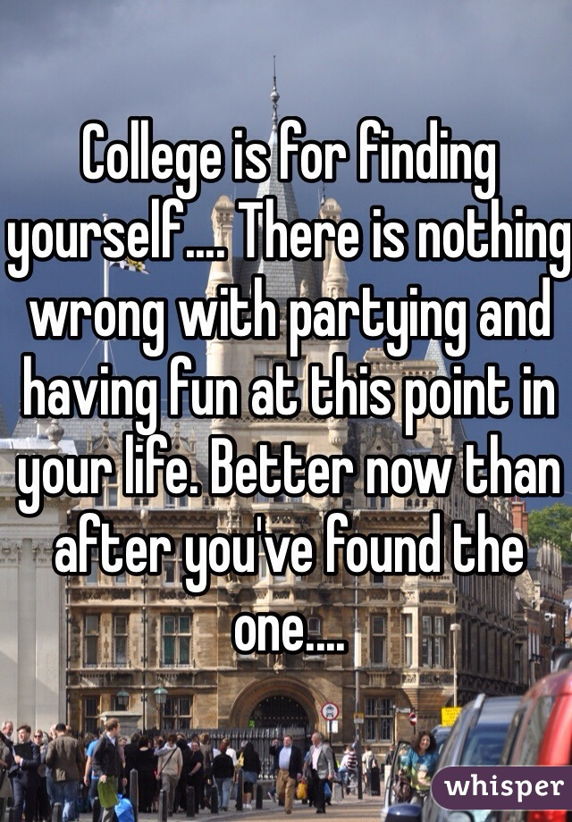 College is for finding yourself.... There is nothing wrong with partying and having fun at this point in your life. Better now than after you've found the one....