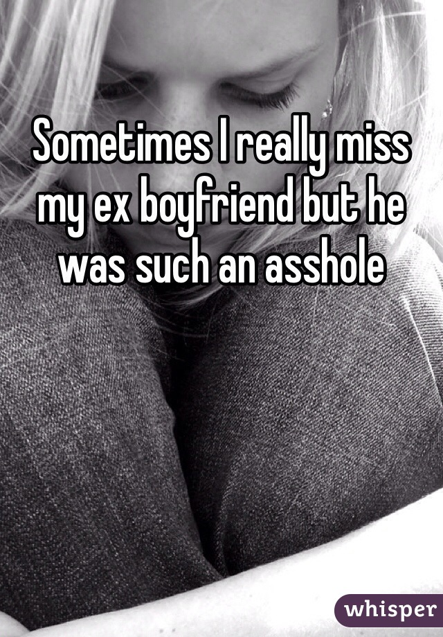 Sometimes I really miss my ex boyfriend but he was such an asshole
