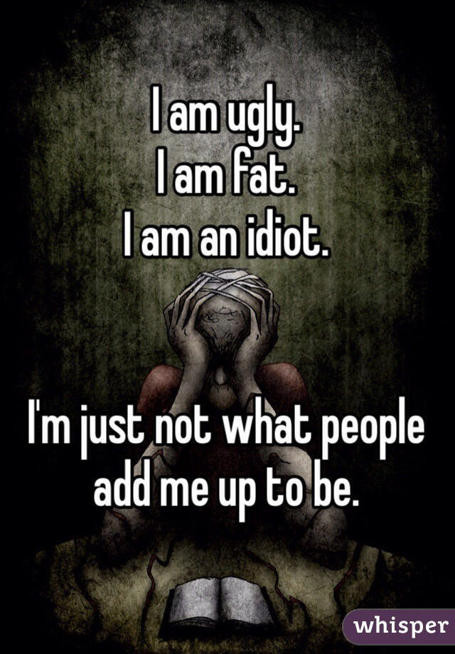 I am ugly. I am fat. I am an idiot.   I'm just not what people add me up to be.