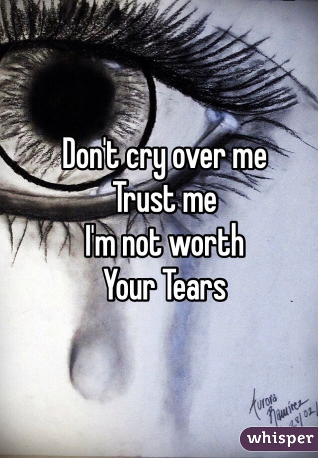 Don't cry over me  Trust me  I'm not worth  Your Tears