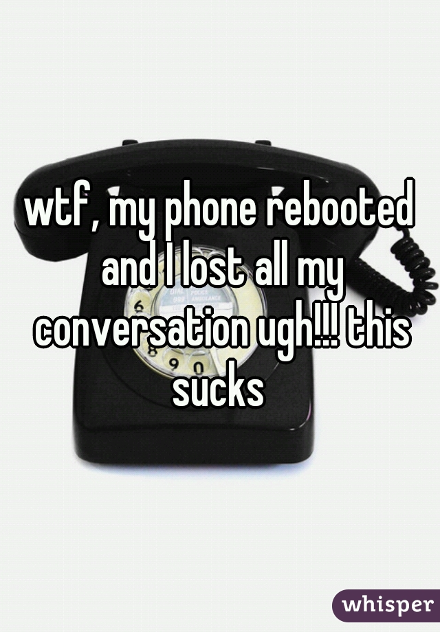 wtf, my phone rebooted and I lost all my conversation ugh!!! this sucks