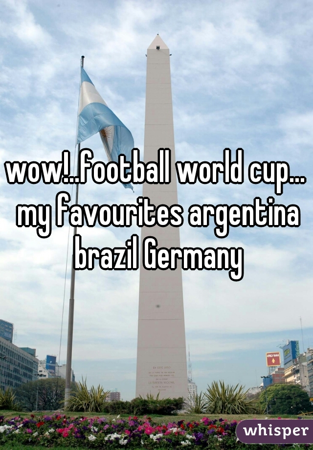 wow!..football world cup... my favourites argentina brazil Germany
