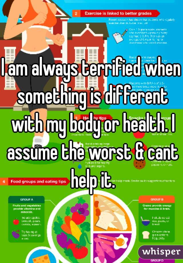 I am always terrified when something is different with my body or health. I assume the worst & cant help it.