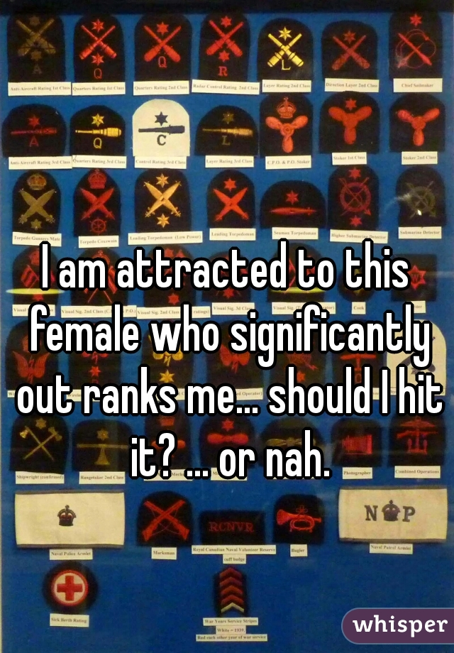 I am attracted to this female who significantly out ranks me... should I hit it? ... or nah.