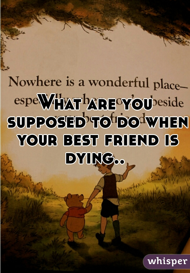 What are you supposed to do when your best friend is dying..