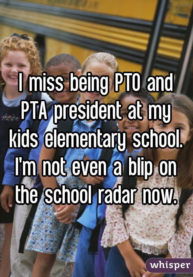 I miss being PTO and PTA president at my kids elementary school. I'm not even a blip on the school radar now.