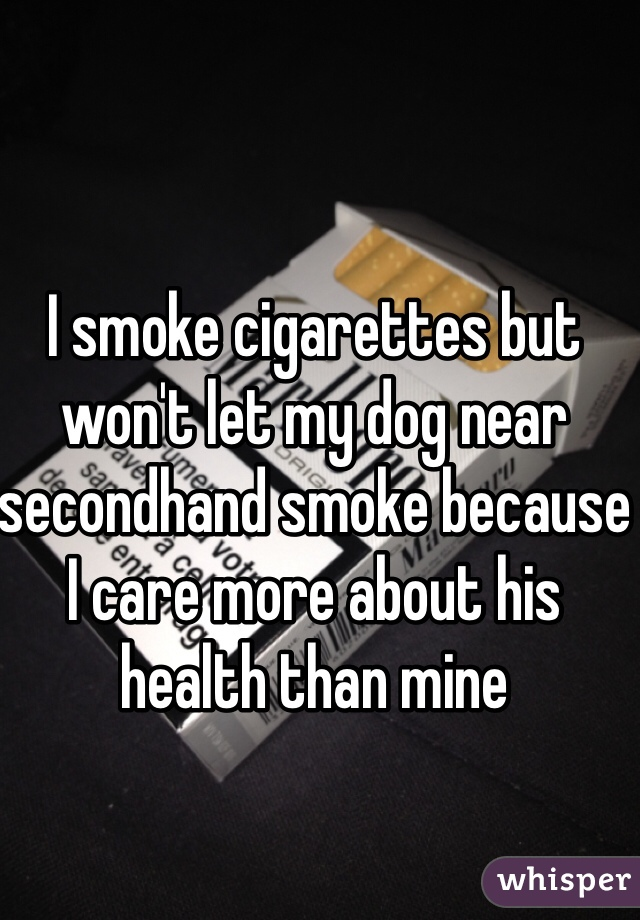 I smoke cigarettes but won't let my dog near secondhand smoke because I care more about his health than mine