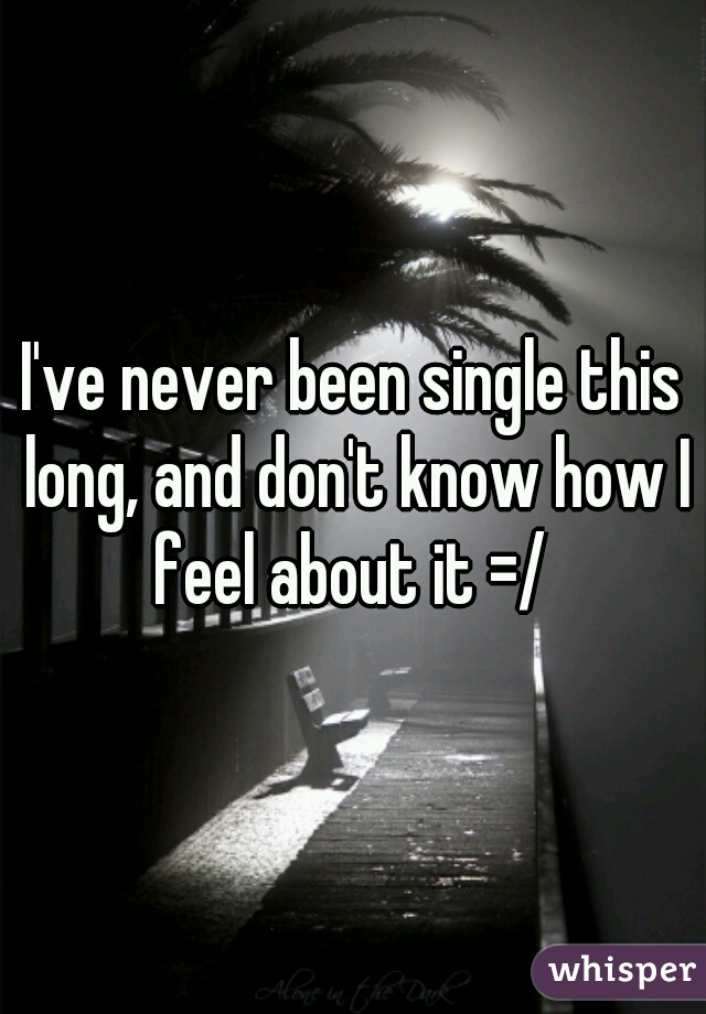 I've never been single this long, and don't know how I feel about it =/
