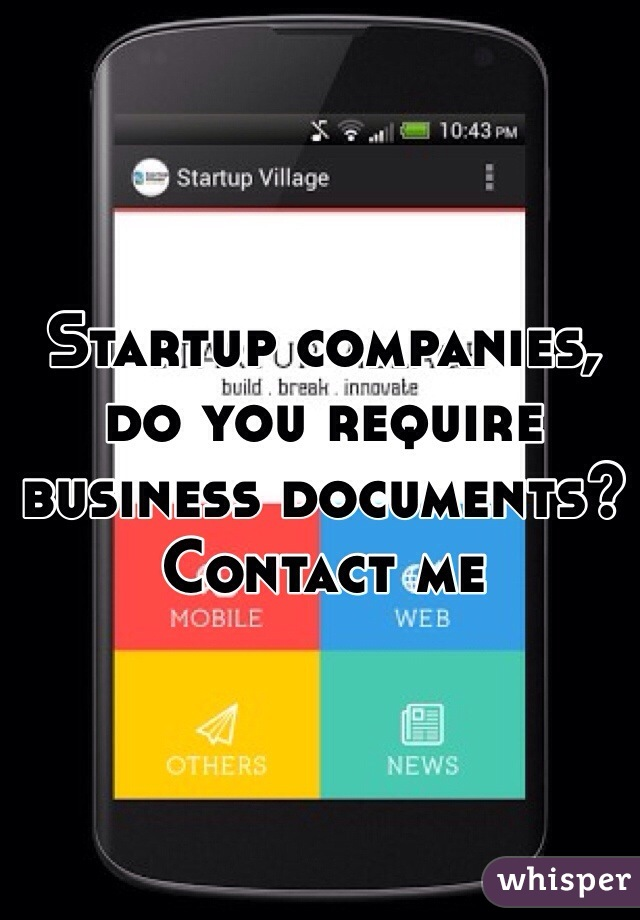 Startup companies, do you require business documents? Contact me