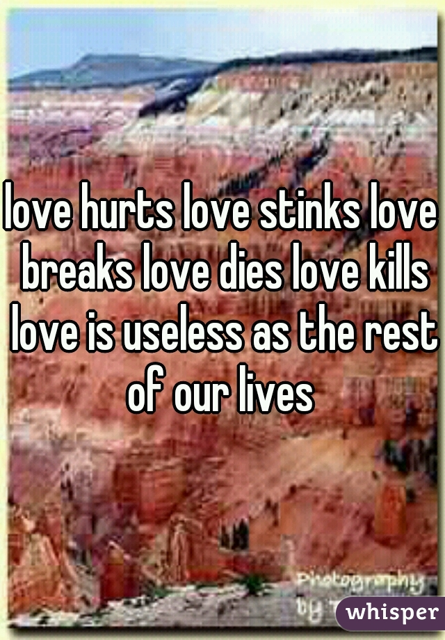 love hurts love stinks love breaks love dies love kills love is useless as the rest of our lives