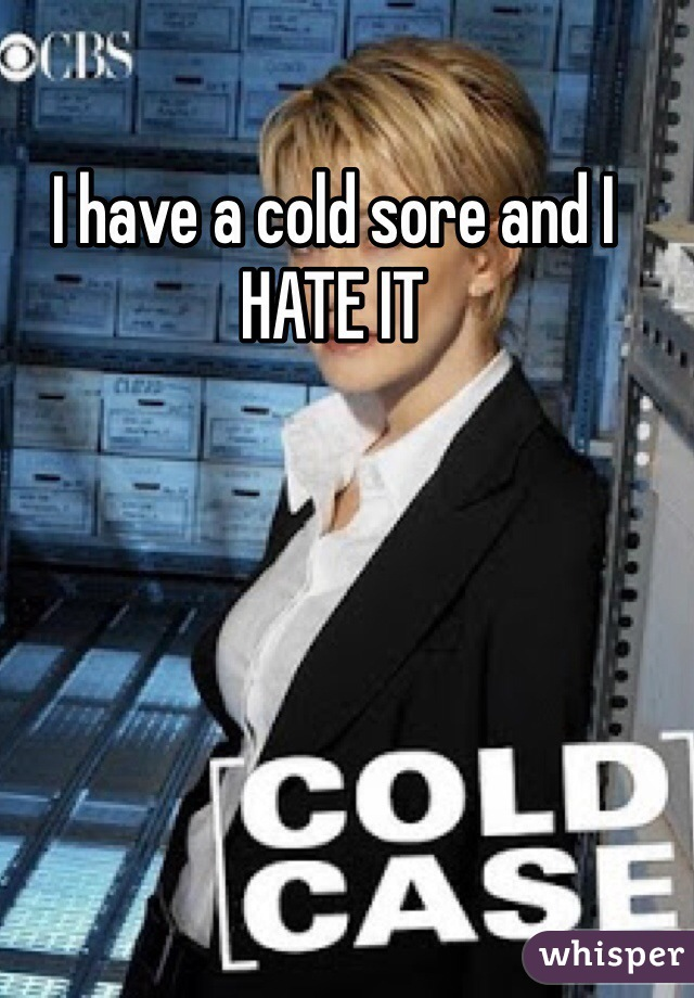 I have a cold sore and I HATE IT