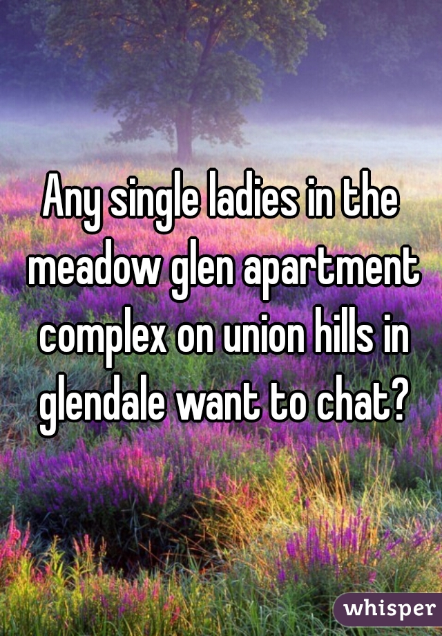 Any single ladies in the meadow glen apartment complex on union hills in glendale want to chat?