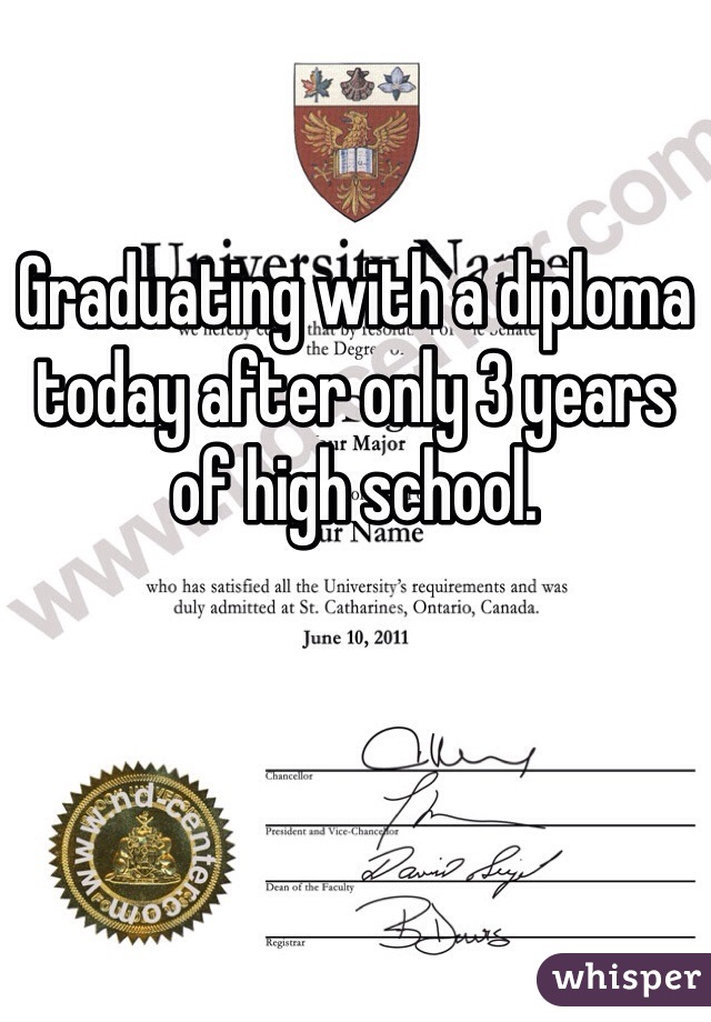 Graduating with a diploma today after only 3 years of high school.