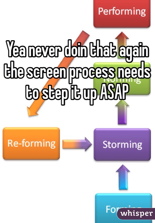 Yea never doin that again the screen process needs to step it up ASAP