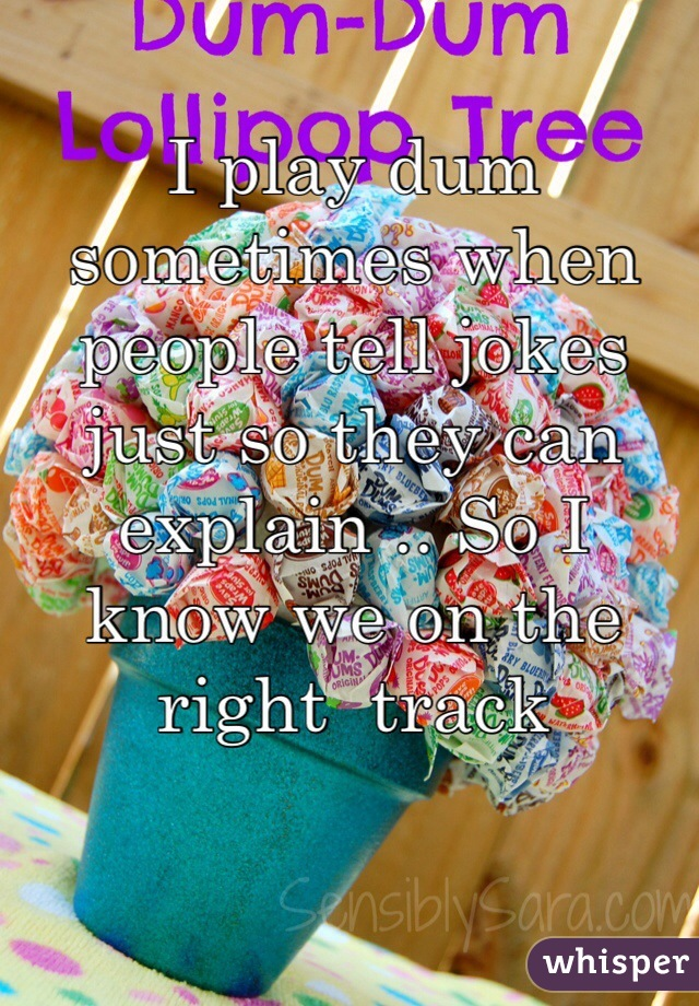 I play dum sometimes when people tell jokes just so they can explain .. So I know we on the right  track