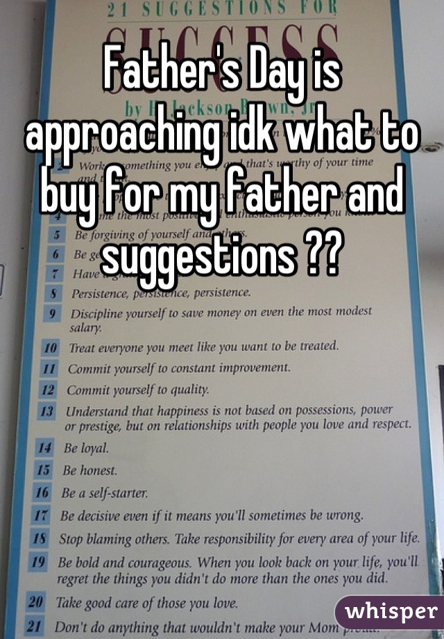 Father's Day is approaching idk what to buy for my father and suggestions ??