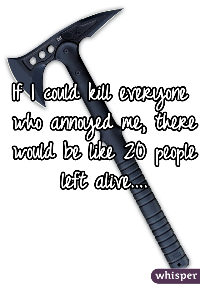 If I could kill everyone who annoyed me, there would be like 20 people left alive....