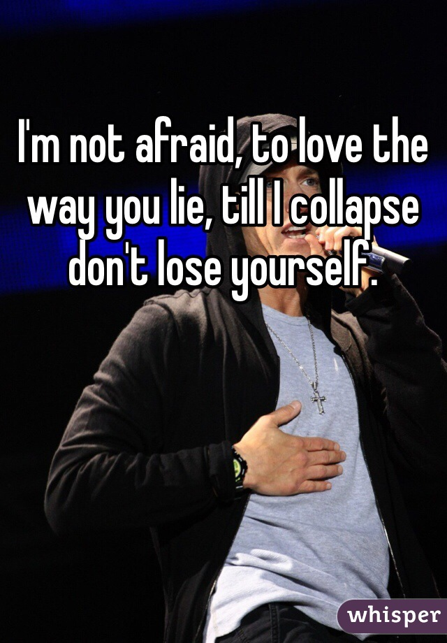 I'm not afraid, to love the way you lie, till I collapse don't lose yourself.