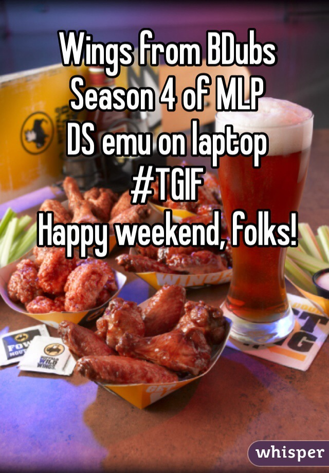 Wings from BDubs Season 4 of MLP DS emu on laptop #TGIF Happy weekend, folks!