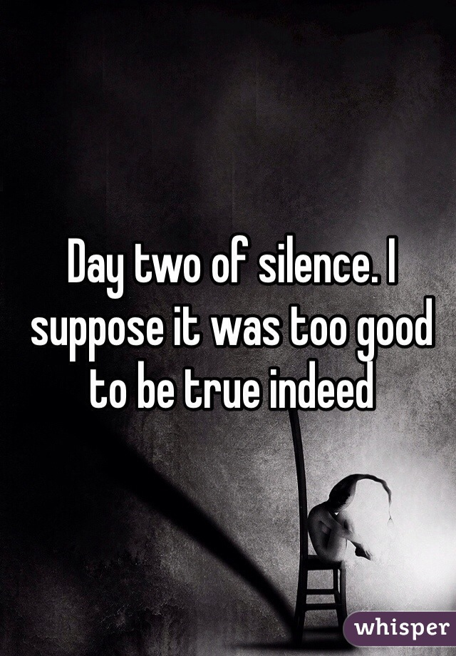 Day two of silence. I suppose it was too good to be true indeed