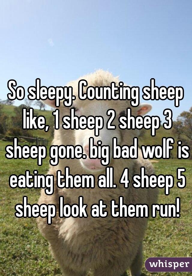 So sleepy. Counting sheep like, 1 sheep 2 sheep 3 sheep gone. big bad wolf is eating them all. 4 sheep 5 sheep look at them run!
