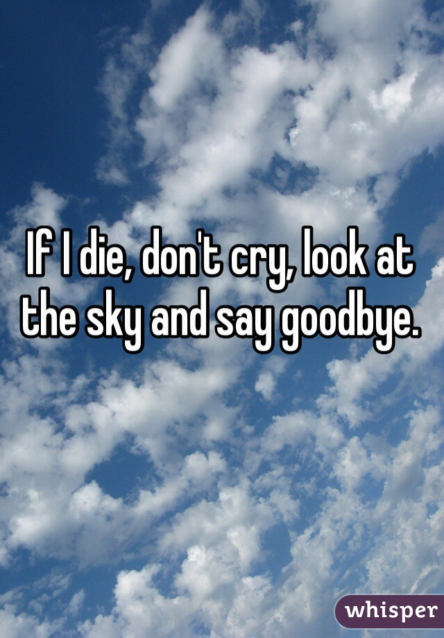 If I die, don't cry, look at the sky and say goodbye.