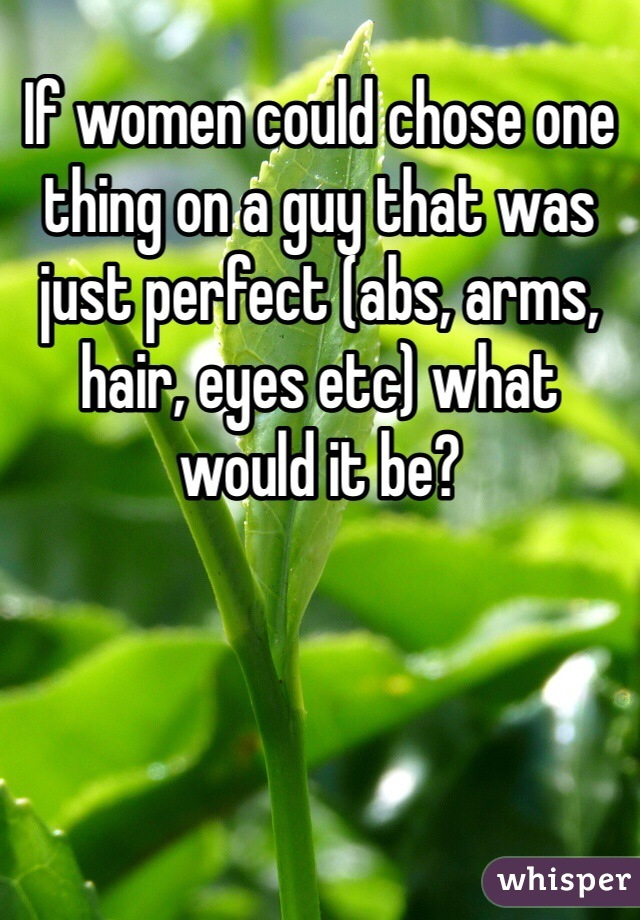 If women could chose one thing on a guy that was just perfect (abs, arms, hair, eyes etc) what would it be?