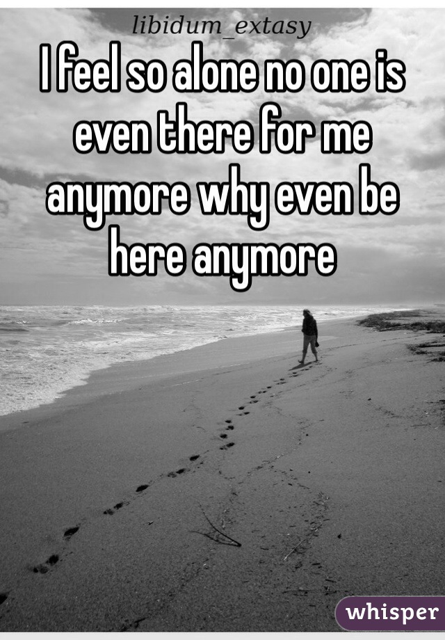 I feel so alone no one is even there for me anymore why even be here anymore